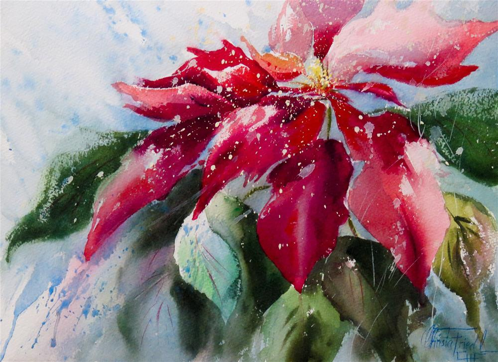 """Poinsettia"" original fine art by Christa Friedl"