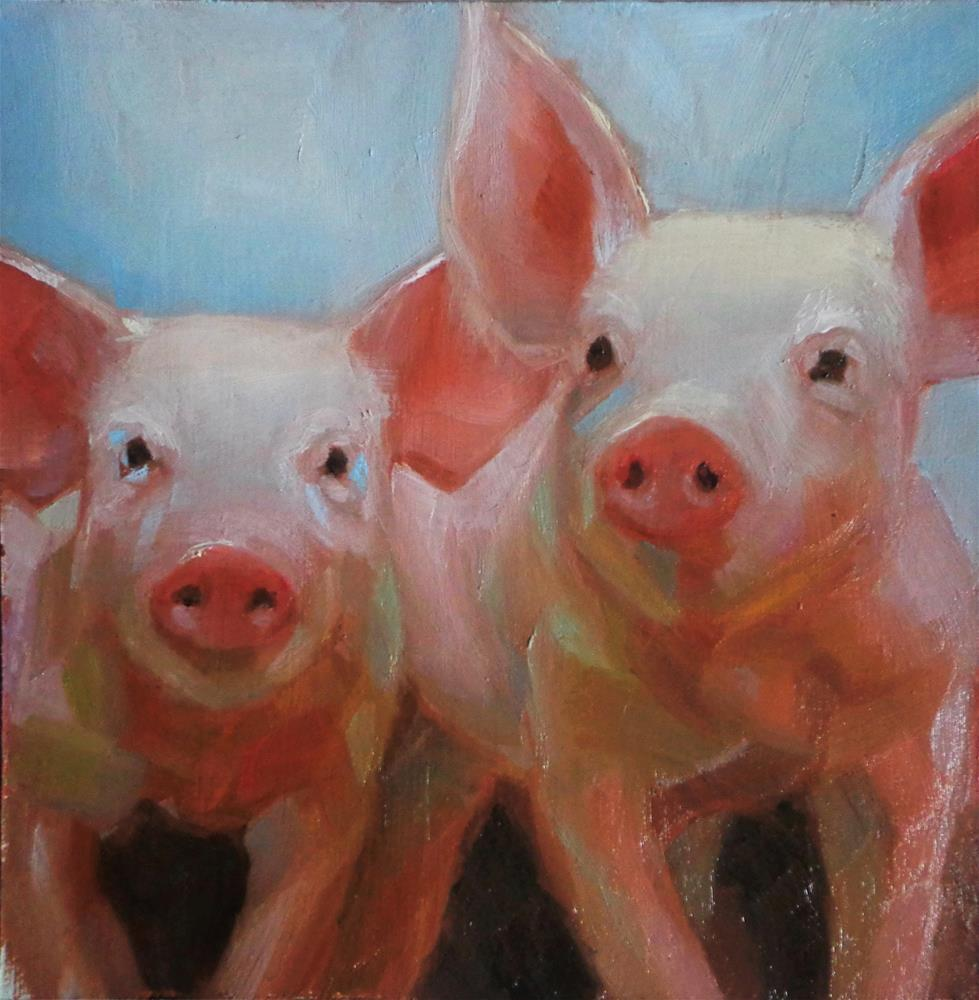"""Piglets"" original fine art by Maria Z."