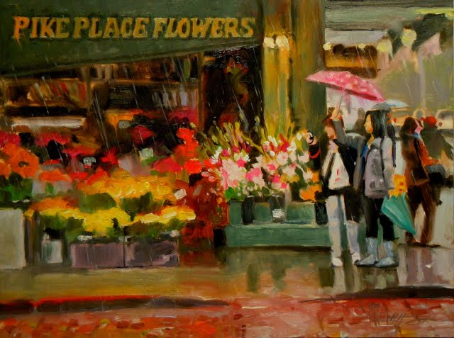 """""""Pike Place Flowers  Seattle cityscape, oil painting"""" original fine art by Robin Weiss"""
