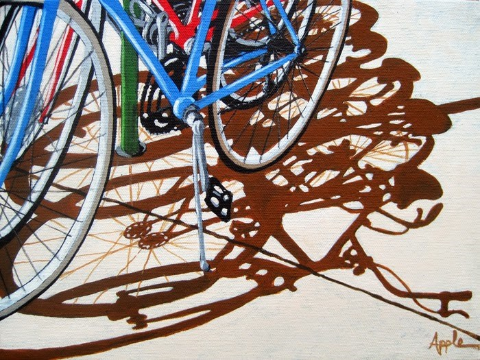 """""""It's a Party - bicycle cycling group realistic bike art"""" original fine art by Linda Apple"""