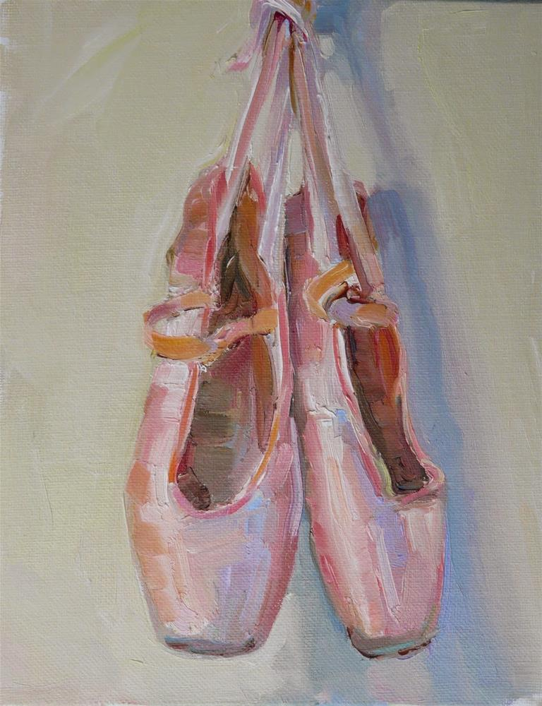 """Pink Ballet Slippers,still life, oil on canvas,10x8,price$200"" original fine art by Joy Olney"
