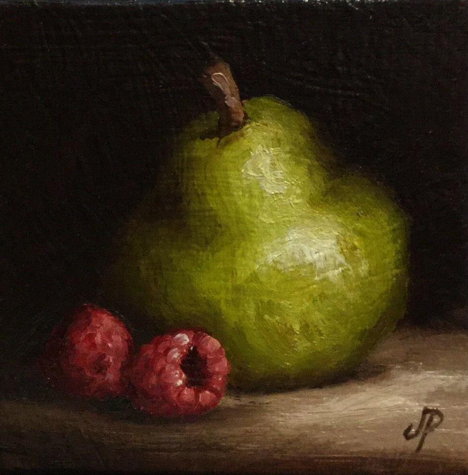 """Little Pear and raspberries"" original fine art by Jane Palmer"