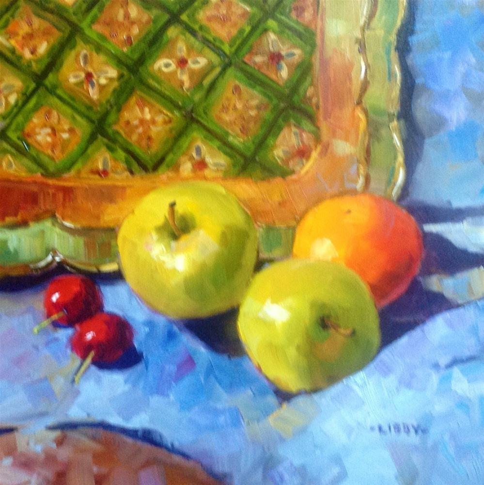 """""""Apples and Tray"""" original fine art by Libby Anderson"""