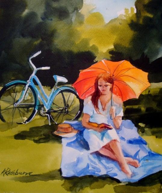 """""""A Summer Read"""" original fine art by Kathy Los-Rathburn"""