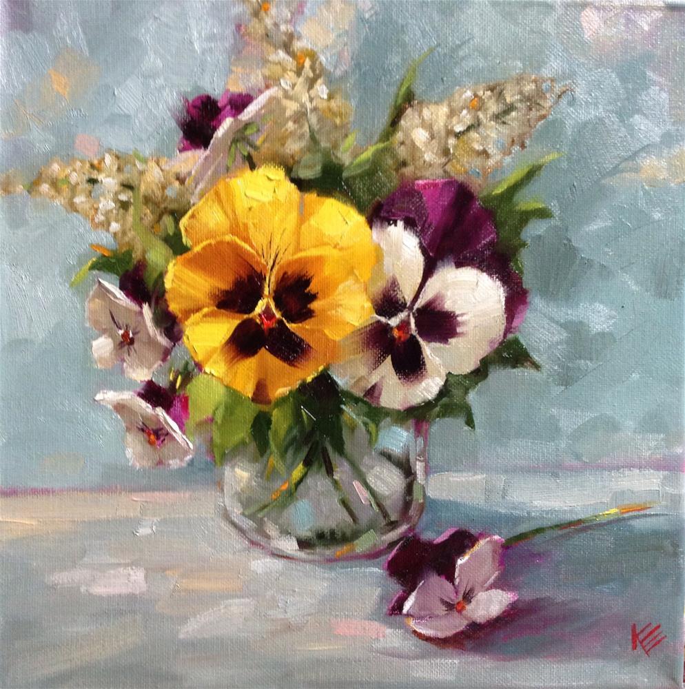 """Pansies in Glass Jar 12x12 oil on canvas"" original fine art by Krista Eaton"