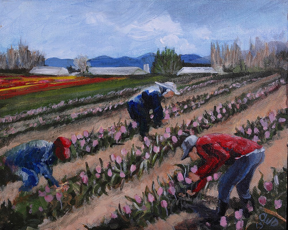 """Tulip Tenders"" original fine art by Cheryl Williams Dolan"