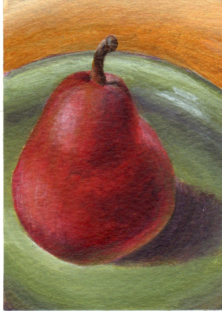 """The Red Pear"" original fine art by Debbie Shirley"