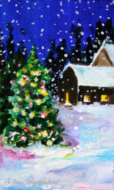 """The Christmas Card"" original fine art by JoAnne Perez Robinson"