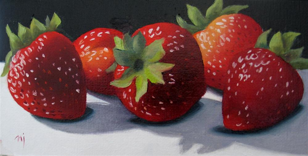 """Row of Strawberries"" original fine art by Nel Jansen"