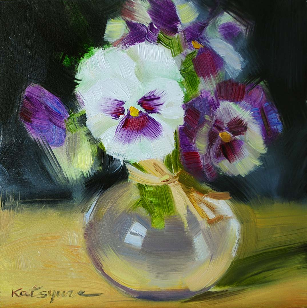 """Pansies in a Vase"" original fine art by Elena Katsyura"