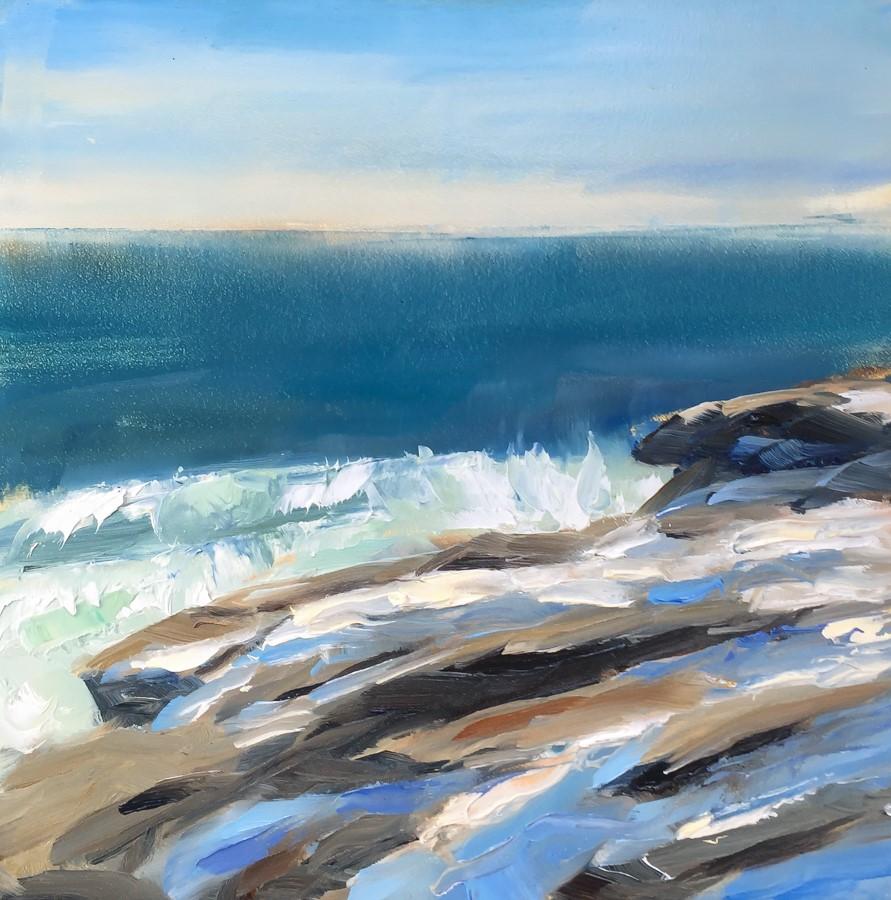 """#129 - Rocks & Surf - Two Lights State Park"" original fine art by Sara Gray"