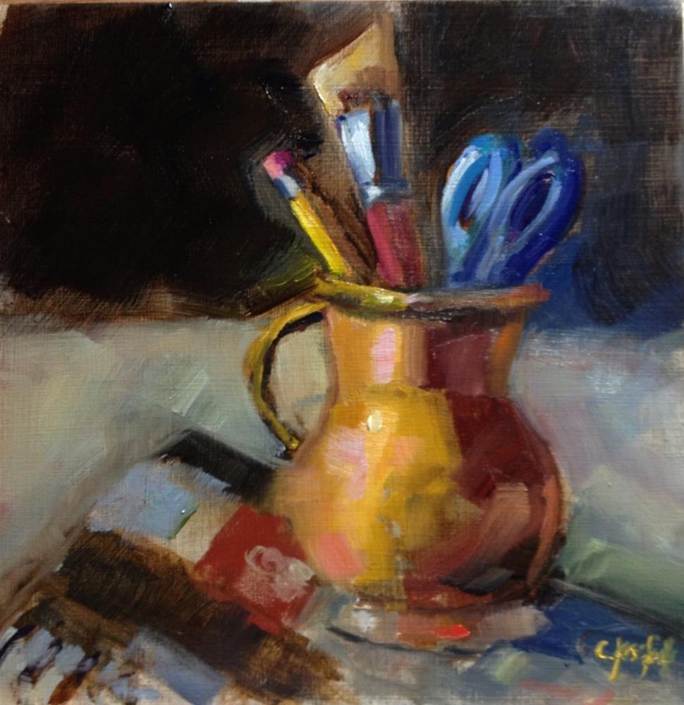 """Getting ready to sketch"" original fine art by Carol Josefiak"