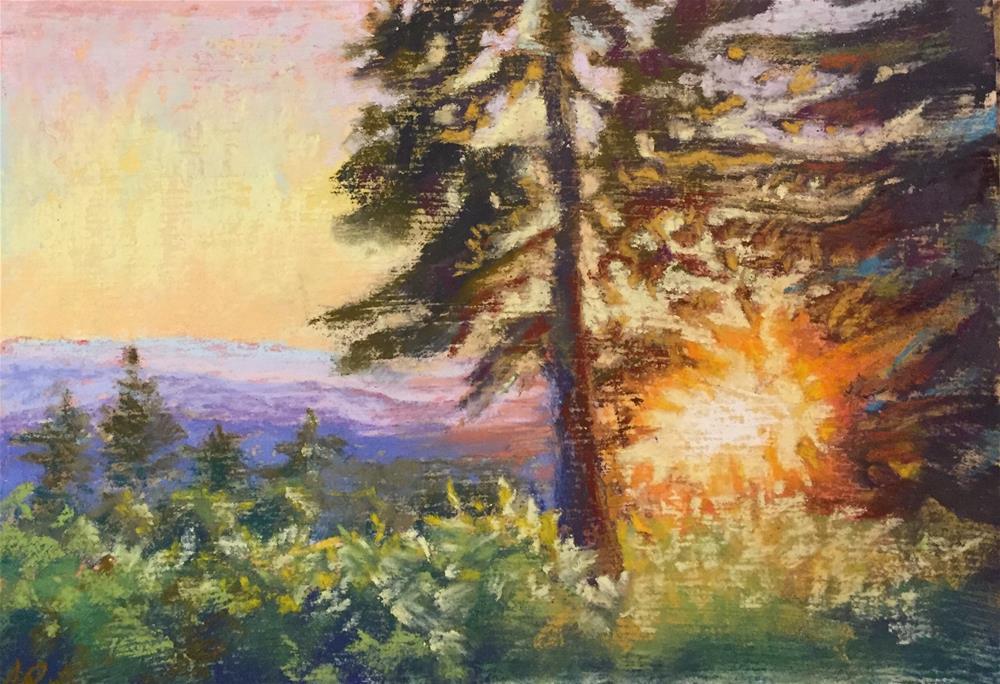 """""""Sunset from a deck"""" original fine art by Natasha Ramras"""