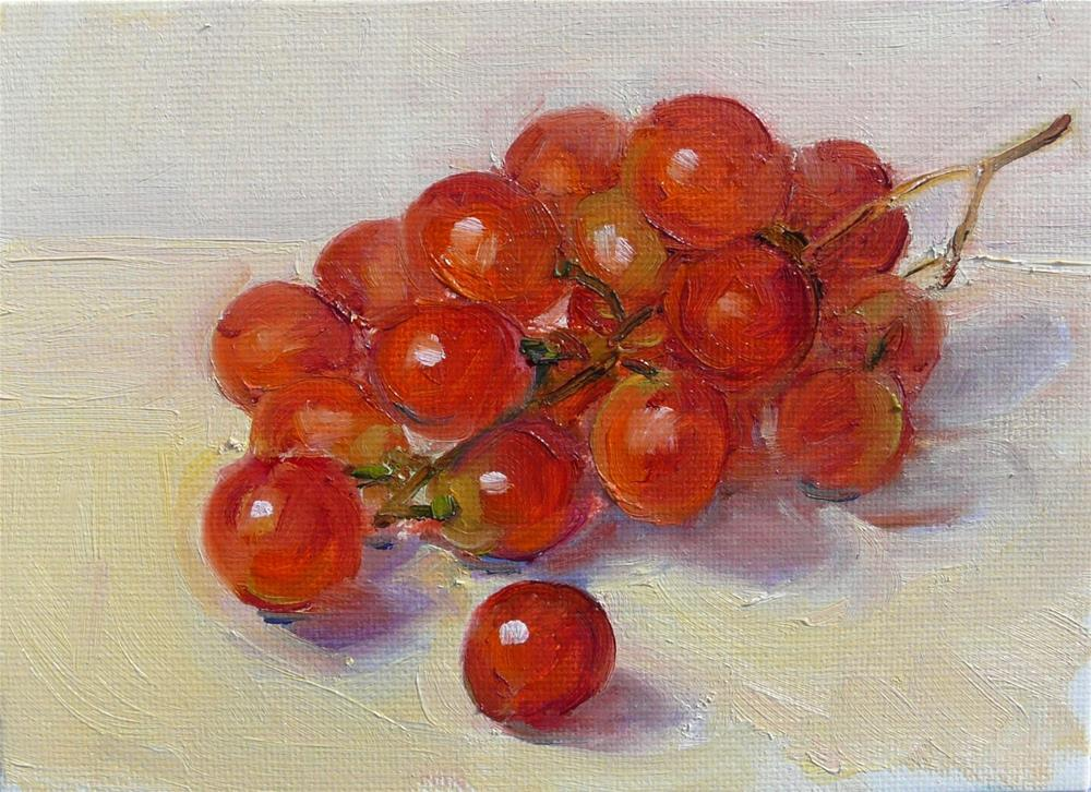 """""""Small Bunch of Grapes,still life,oil on canvas,5x7,price$175"""" original fine art by Joy Olney"""