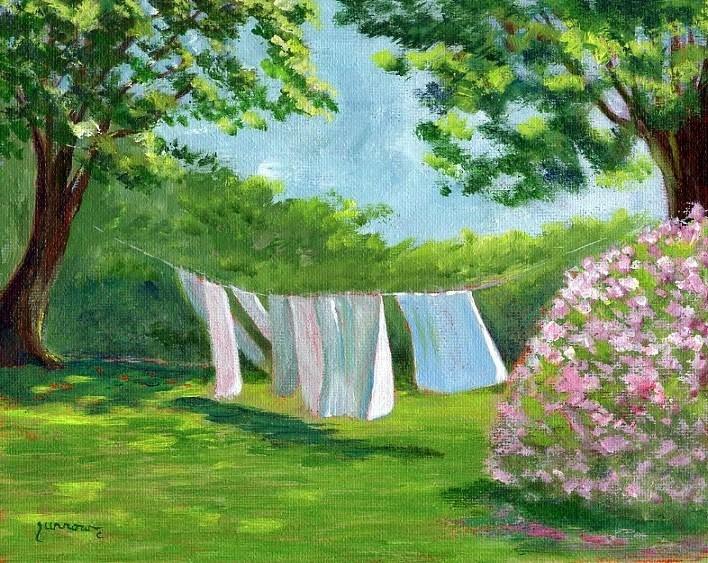 """ORIGINAL PAINTING OF NANCY'S LAUNDRY"" original fine art by Sue Furrow"