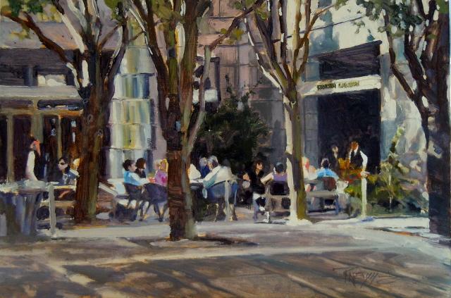 """Outside the Friesen Gallery Seattle city scenes, urban oil painting"" original fine art by Robin Weiss"