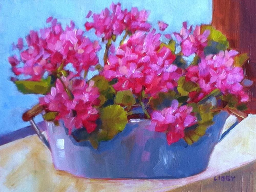 """Pink Geraniums"" original fine art by Libby Anderson"