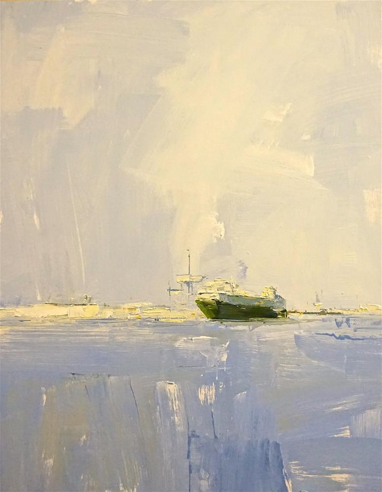 """China Shipping oil 20x16"" original fine art by Deborah R Hill"