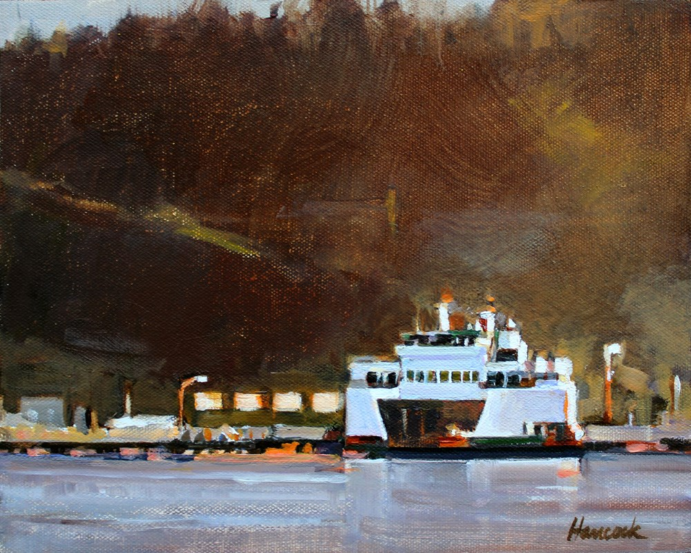 """Evening Vashon Ferry"" original fine art by Gretchen Hancock"