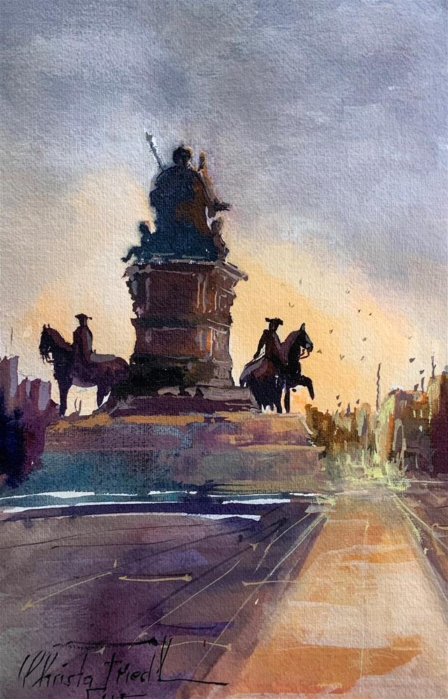 """Maria Theresia, Statue, Vienna"" original fine art by Christa Friedl"