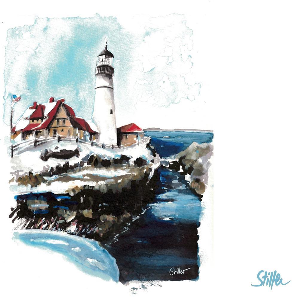 """""""3424 Lighthouse Maine"""" original fine art by Dietmar Stiller"""