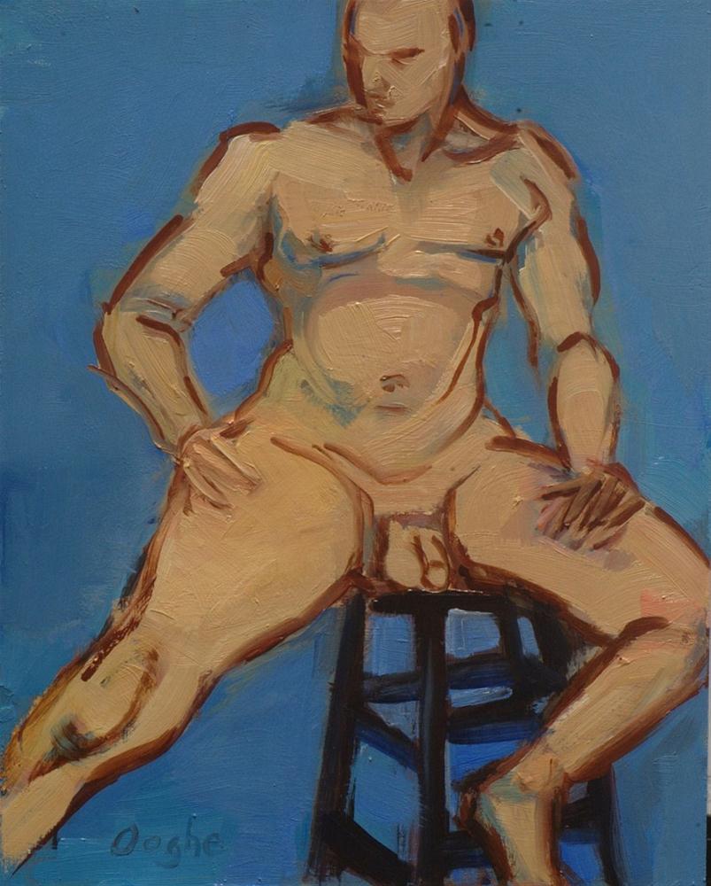 """Male Nude on Black Barstool"" original fine art by Angela Ooghe"