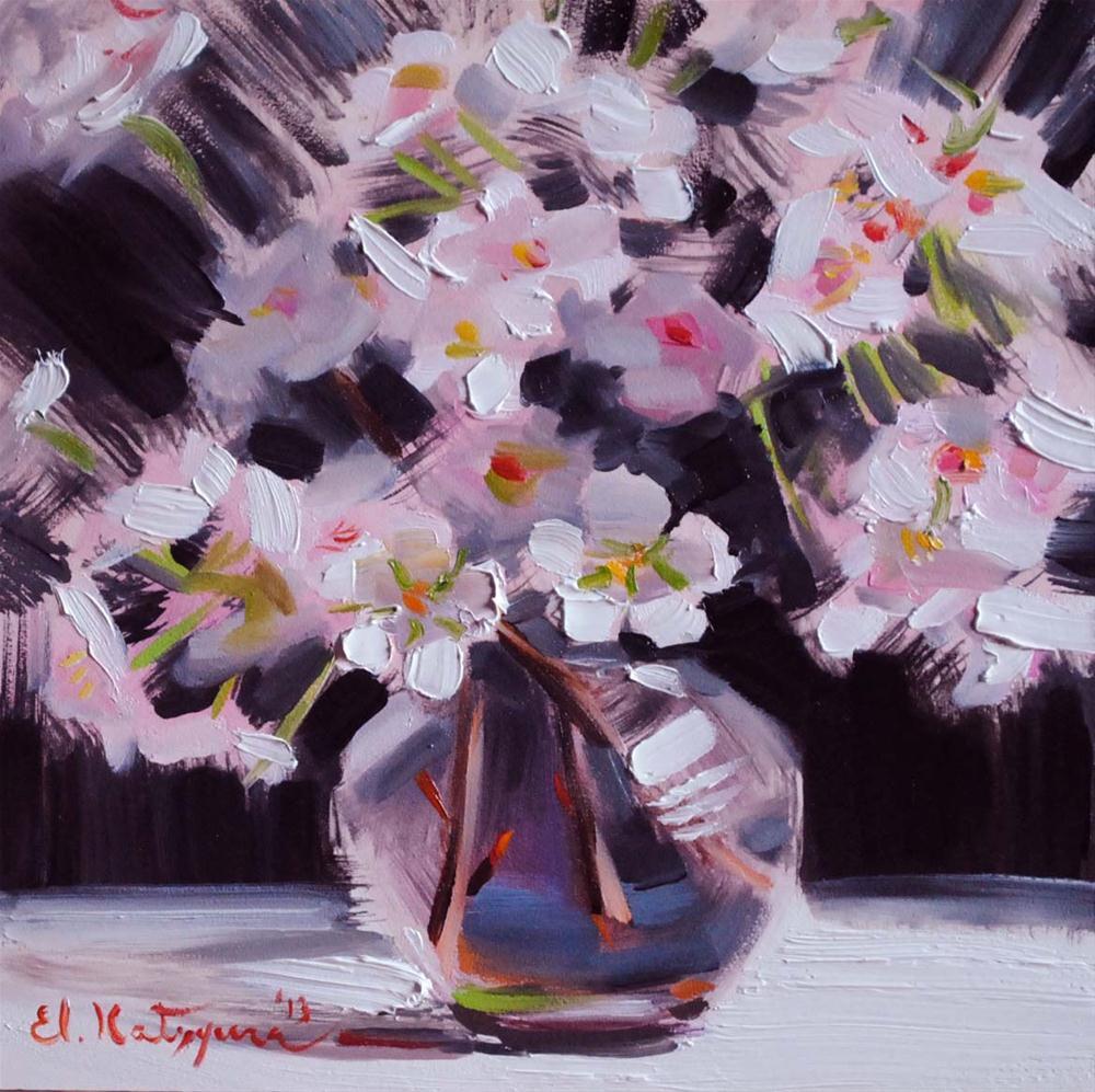 """Blossoms in a Vase"" original fine art by Elena Katsyura"