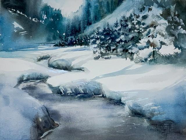 """Untouched Winter Landscape"" original fine art by Christa Friedl"