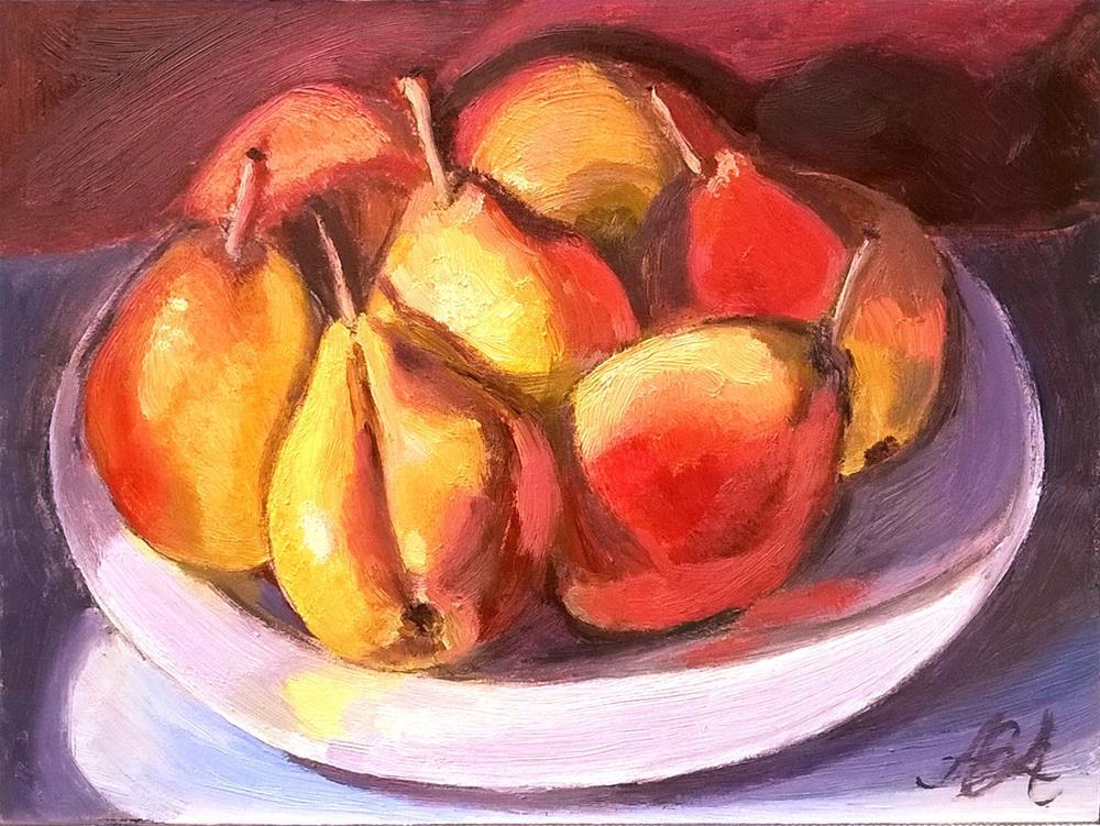 """Ripe Pears on a Plate"" original fine art by Adriana B. Almquist"