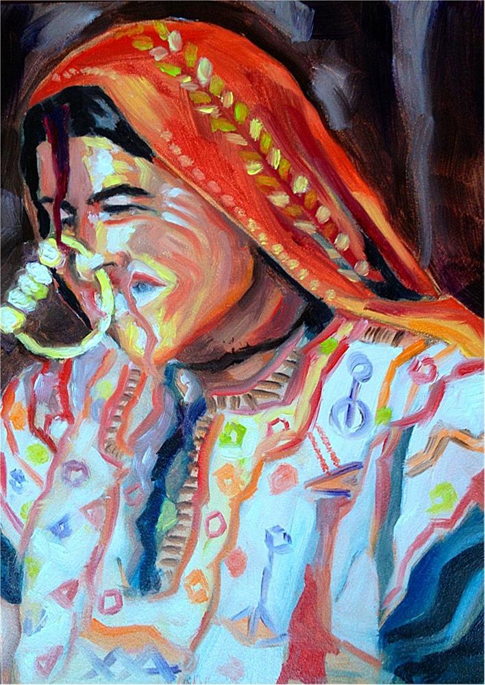 """Nose Ring Hoop-la"" original fine art by Piya Samant"