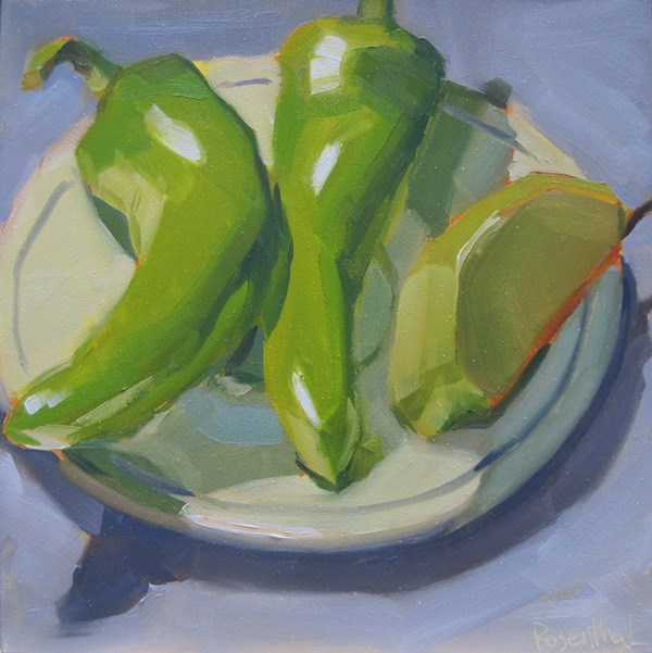 """""""Cubanelle Peppers and Apple Slice"""" original fine art by Robin Rosenthal"""