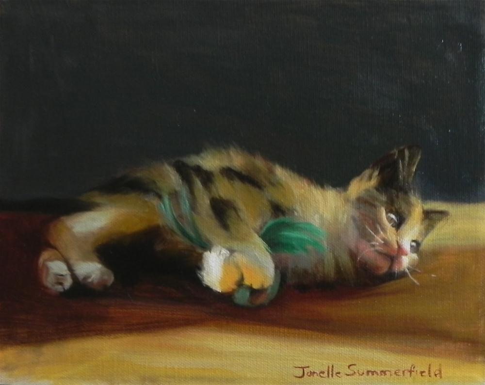"""Kitten with Green Feather Toy"" original fine art by Jonelle Summerfield"