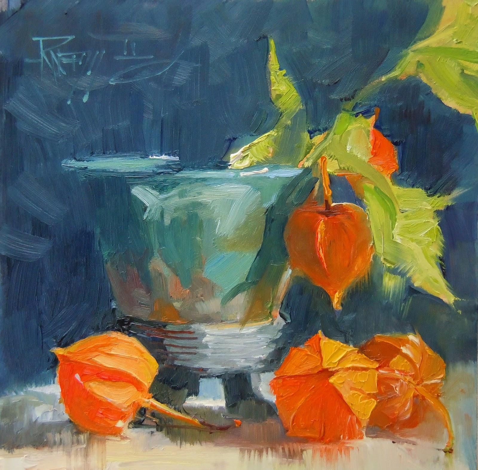 """Chinese Lanterns  oil still life painting"" original fine art by Robin Weiss"