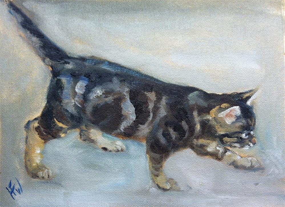 """""""Tortie Kitten on a Mission"""" original fine art by H.F. Wallen"""