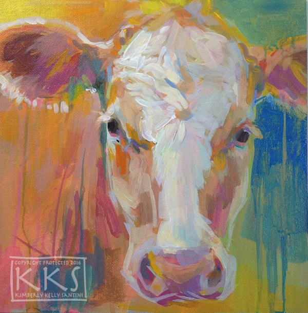 """""""Girlie, in process"""" original fine art by Kimberly Santini"""