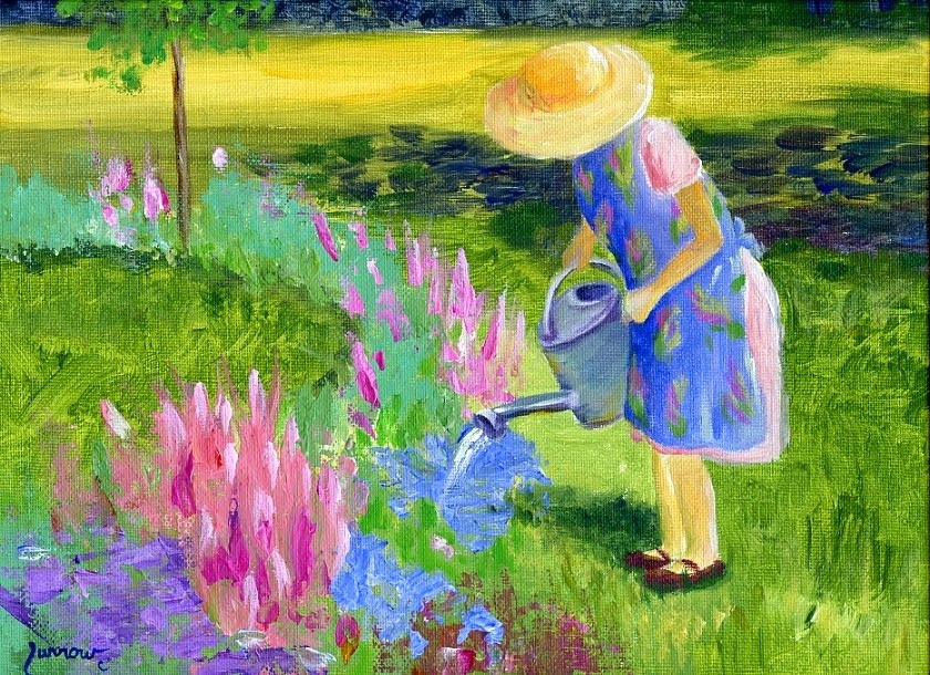 """Judy's Garden - Two Views"" original fine art by Sue Furrow"