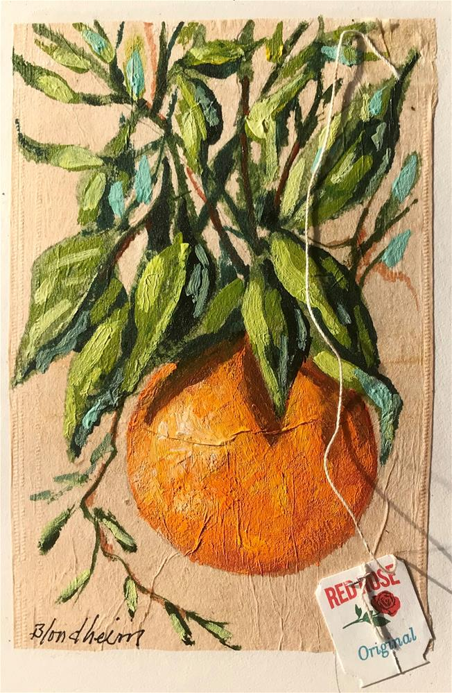 """Tea Bag Painting Orange"" original fine art by Linda Blondheim"