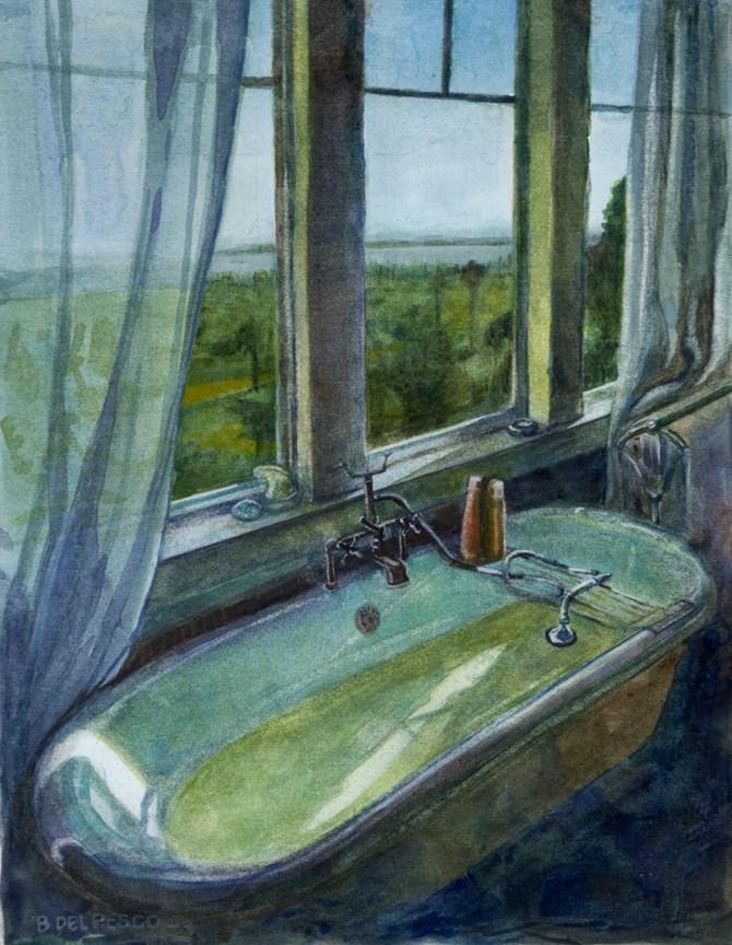 """Watercolor: Sunday Soak (& 30 art videos on my youtube channel)"" original fine art by Belinda Del Pesco"