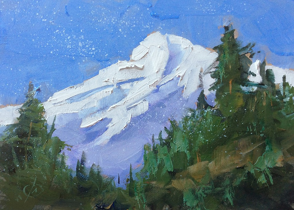 """FRESH SNOW"" original fine art by Tom Brown"