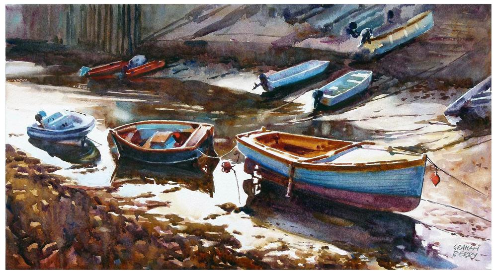 """Salcombe Boatyard"" original fine art by Graham Berry"