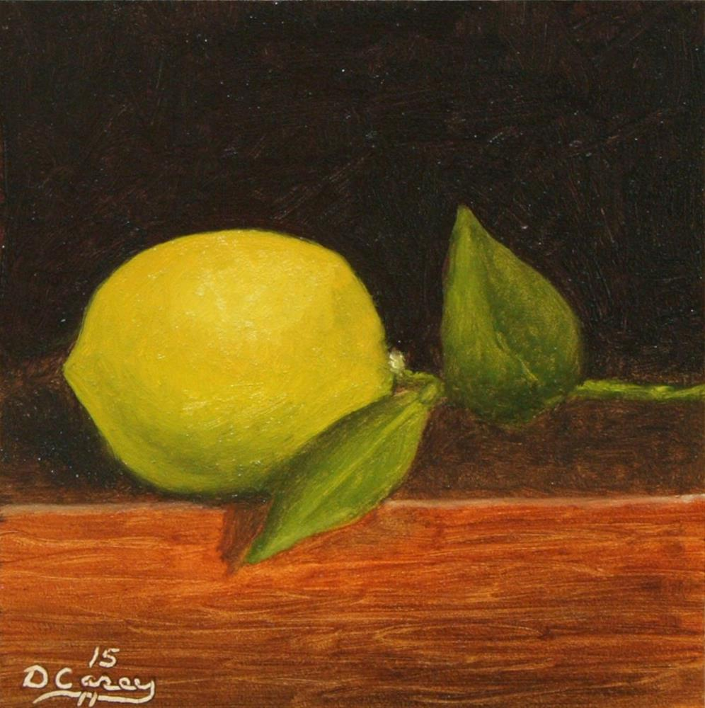 """150116 - Lemon 008 - 5x5 oil on gessobord - Dave The Daily Painter"" original fine art by Dave Casey"