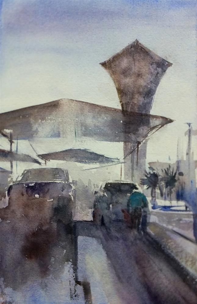 """""""Al Jimi Mall Sun-set"""" original fine art by Midori Yoshino"""