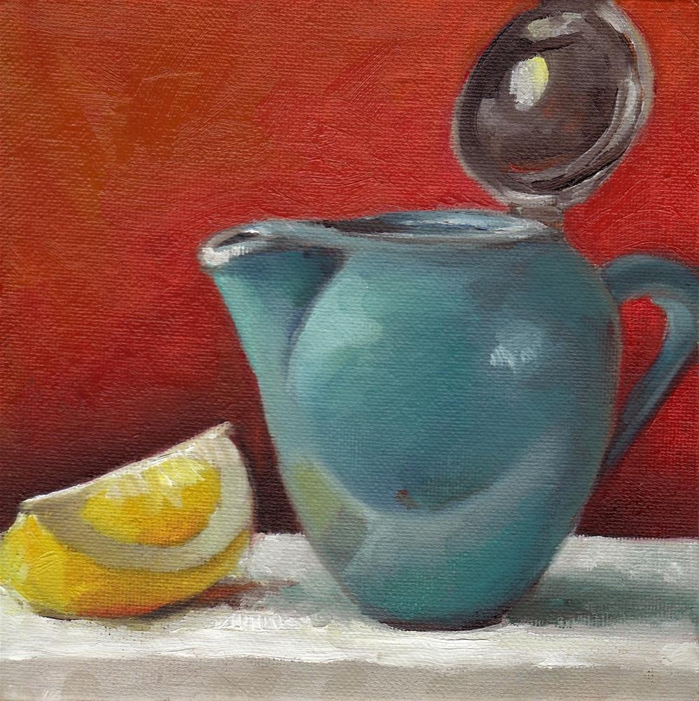 """""""Lemon with your tea? - The Blue Teapot"""" original fine art by Anne Ducrot"""