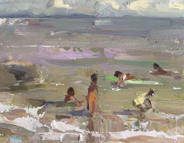 """Beach Painting November"" original fine art by Roos Schuring"