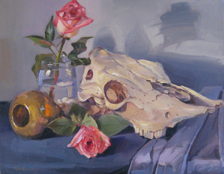 """""""Cow Skull with Blush Roses"""" original fine art by Sarah Sedwick"""