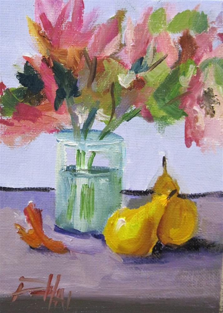 """""""Floral Still Life with Pears"""" original fine art by Delilah Smith"""