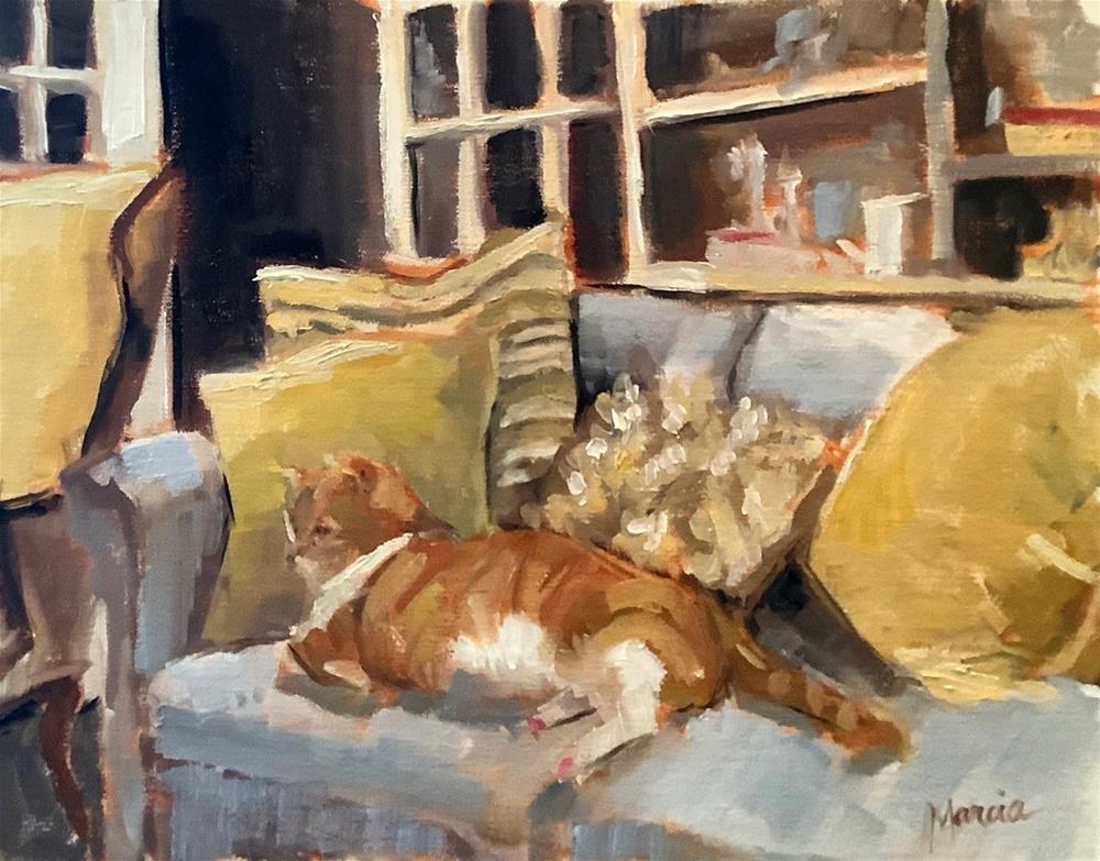 """Fat Cat"" original fine art by Marcia Hodges"