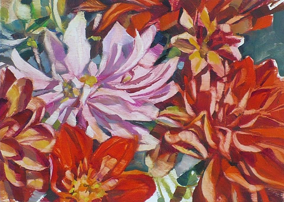 """Study for Red Dahlia"" original fine art by Nicoletta Baumeister"