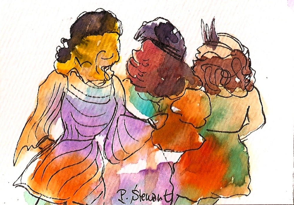 """ACEO 3 Ladies in Hats"" original fine art by Penny Lee StewArt"