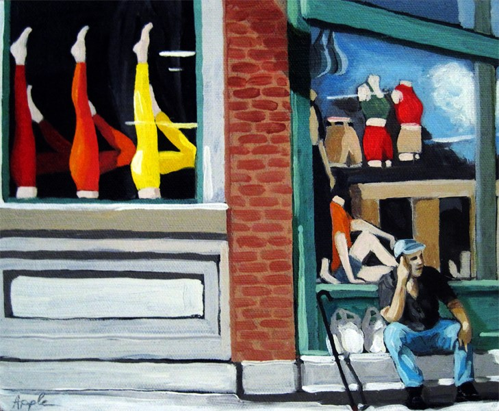 """""""Its All About the Legs - figurative city urban oil painting"""" original fine art by Linda Apple"""